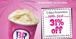 Featured image for Baskin-Robbins: 31% Off Handpacked Ice Cream from 29 – 31 Aug 2016
