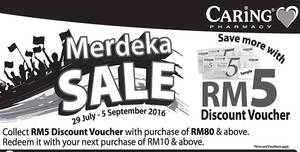 Featured image for Caring Pharmacy: FREE RM5 Voucher w/ RM80 Spend from 29 Jul – 5 Sep 2016