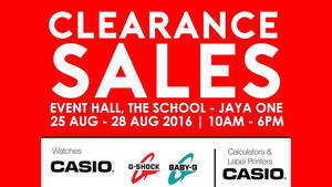 Featured image for Casio: Clearance Sale – Watches, Calculators & More at The School Jaya One from 25 – 28 Aug 2016