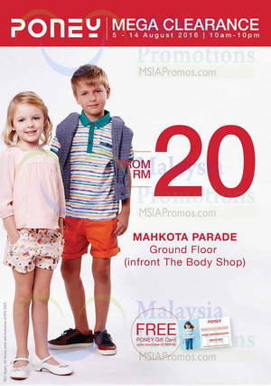 Featured image for Poney: Mega Clearance at Mahkota Parade Malacca from 5 – 14 Aug 2016