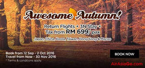 Featured image for Air Asia Go: Fr RM699/pax (Return Flight + 3N Stay + Tax) Autumn Packages Promo from 12 Sep – 2 Oct 2016