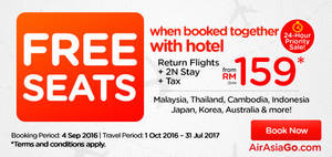 Featured image for Air Asia Go: fr RM159/pax (Hotel + 2N Stay + Tax) Book Hotel & Get FREE Flight Promo from 4 – 11 Sep 2016