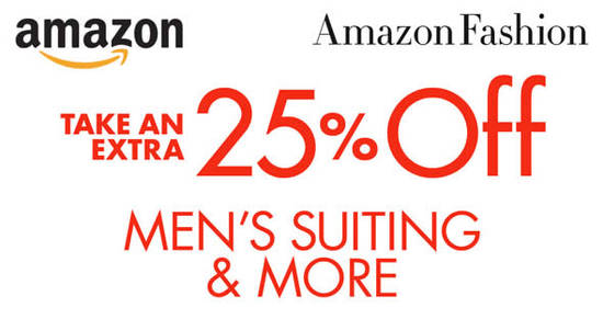 Featured image for Amazon.com: Coupon Code for 25% OFF Selected Men's Suiting & More (NO Min Spend) from 5 - 18 Nov 2016