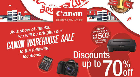 Canon Warehouse Sale Feat 7 Sep 2016