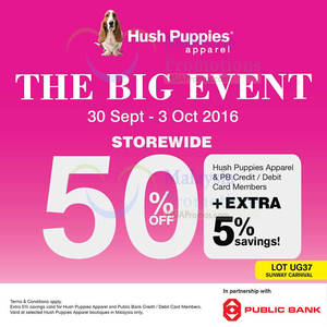 Featured image for Hush Puppies Apparel: 50% Off Storewide from 30 Sep – 3 Oct 2016