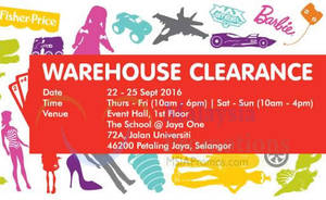 Featured image for Mattel Warehouse Clearance at The School Jaya One from 22 – 25 Sep 2016