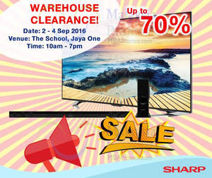 Featured image for Sharp: Warehouse Clearance at The School Jaya One from 2 – 4 Sep 2016