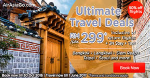 Featured image for Air Asia Go: Fr RM299/pax (Hotel + 3N Stay + Tax) Packages Promo from 24 – 30 Oct 2016