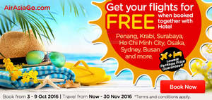 Featured image for Air Asia Go: Book Hotel & Get Your Flights for FREE from 3 – 9 Oct 2016