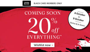 Featured image for Sephora: 20% Off Everything for Black Card Members from 6 – 9 Oct 2016