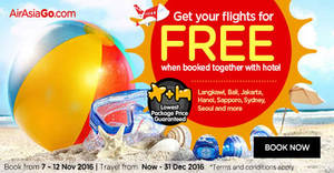 Featured image for Book a hotel & get your flights for FREE with Air Asia Go's latest promo from 7 – 12 Nov 2016