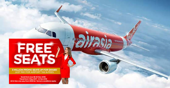 Featured image for Air Asia's free seats promotion is back with 3 million promo seats up for grabs from 14 - 20 Nov 2016