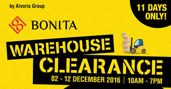 Featured image for Aivoria Bonita, Elianto & Tiamo's warehouse sale offers up to 90% off at Cheras from 2 - 12 Dec 2016