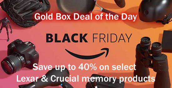 Featured image for Save up to 40% on selected Lexar & Crucial memory products at Amazon's deal-of-the-day from 24 - 25 Nov 2016
