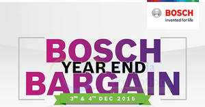 Featured image for Bosch Year End Bargain event featuring up to 70% off at The School Jaya One from 3 – 4 Dec 2016