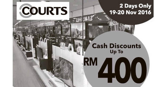 Featured image for Courts offers up to RM400 off cash discounts from 19 - 20 Nov 2016