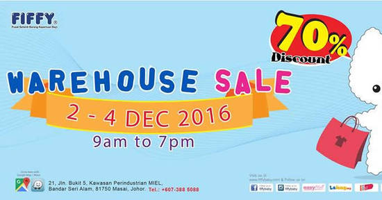 Featured image for Fiffy's baby products warehouse sale offers up to 70% off at Johor from 2 - 4 Dec 2016