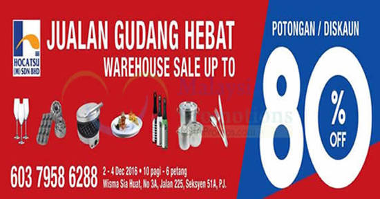 Featured image for Hocatsu Warehouse Sale at Petaling Jaya from 2 - 4 Dec 2016