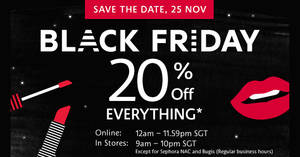Featured image for Sephora throws 20% off everything online this Black Friday on 25 Nov 2016