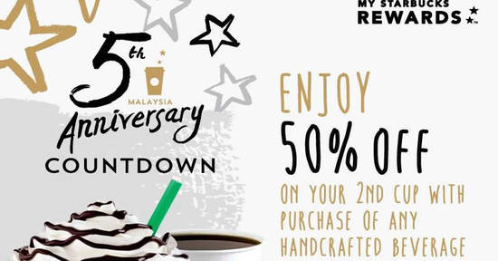 Featured image for Starbucks offers 50% off the second beverage (5pm to 7pm) on 8 Nov 2016