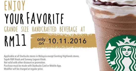 Featured image for Starbucks is offering Grande-sized handcrafted beverages for only RM11 each on 10 Nov 2016