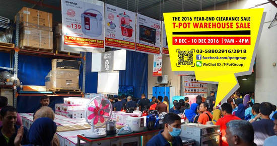 Featured image for T-Pot warehouse sale at Shah Alam from 9 - 10 Dec 2016