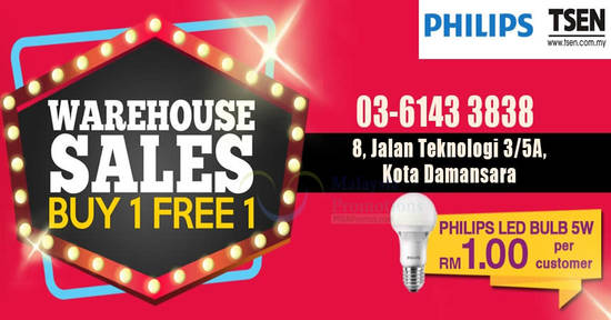 Featured image for TSEN Lighting Warehouse Sale features buy 1 free 1 all items at Kota Damansara Selangor from 23 - 27 Nov 2016