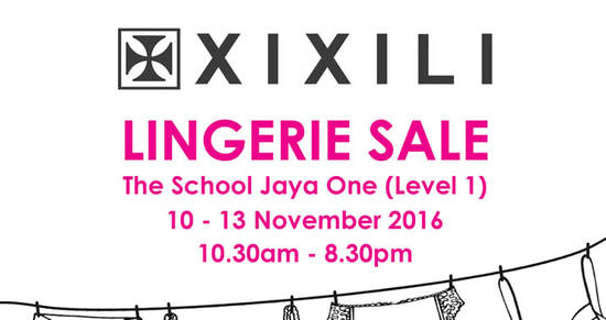 Featured image for XIXILI Lingerie Sale at The School Jaya One from 10 - 13 Nov 2016