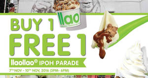 Featured image for llaollao is offering Buy 1 FREE 1 at their new outlet at Ipoh Parade from 7 – 10 Nov 2016