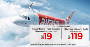 Featured image for AirAsia offers fares starting from RM19 all-in with their latest promotion from 12 – 18 Dec 2016