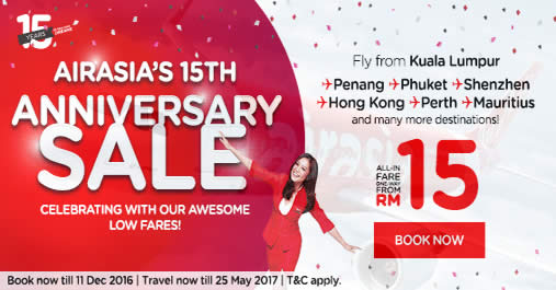 Featured image for AirAsia offers fares from RM15 all-in in celebration of their 15th anniversary from 5 - 11 Dec 2016