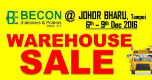 Featured image for Becon stationery warehouse sale at Johor Bahru from 6 – 9 Dec 2016
