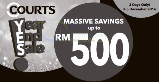 Featured image for Courts offers up to RM500 massive savings in their year end sale from 3 - 5 Dec 2016