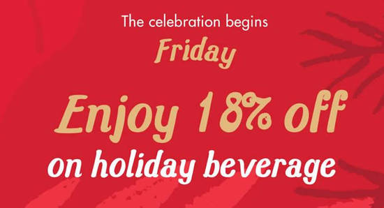 Featured image for Save 18% on any holiday beverage at Starbucks on Fridays from 2 - 16 Dec 2016