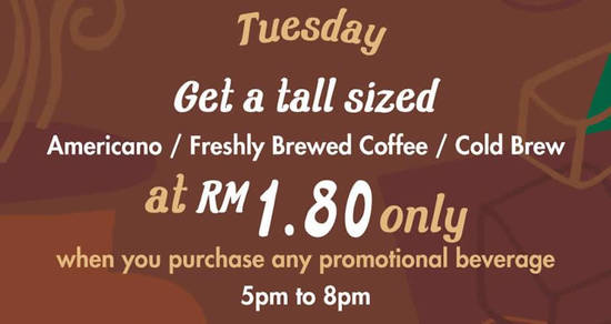 Featured image for Starbucks RM1.80 Americano or Freshly Brewed Coffee or Cold Brew on Tuesdays from 6 - 13 Dec 2016