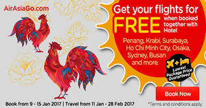 Featured image for Book a hotel & get your flights for FREE with Air Asia Go's latest promo from 9 – 15 Jan 2017
