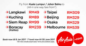 Featured image for AirAsia offers exclusive app fares fr RM49 all-in for travel till 30 June 2017. Book from 3 – 8 Jan 2017