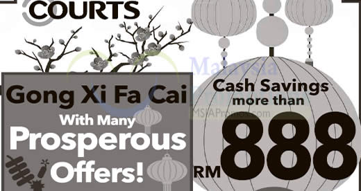 Featured image for Courts offers more than RM888 cash savings in their CNY sale from 14 - 16 Jan 2017