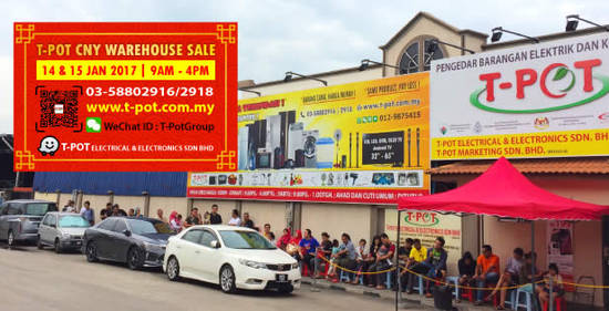 Featured image for T-Pot warehouse sale at Shah Alam from 14 - 15 Jan 2017