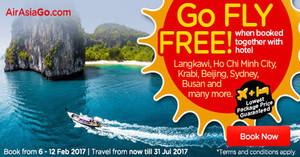 Featured image for Book a hotel & get your flights for FREE with Air Asia Go's latest promo from 6 – 12 Feb 2017