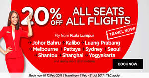 Featured image for AirAsia 20% off ALL seats, ALL flights for travel up to 31 July '17. Book from 6 – 12 Feb 2017