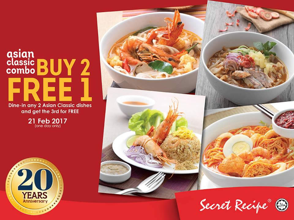 Secret recipe buy 2 get 1 free asian classic menu for one for Asian cuisine grimes ia menu