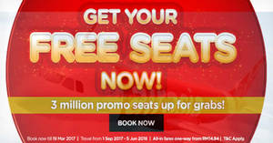 Featured image for AirAsia's FREE Seats promotion is BACK! Fly fr RM12 all-in to over 90 destinations! Book from 13 – 19 Mar 2017