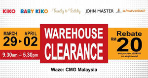 Featured image for Baby Kiko, Kiko, John Master & Schwarzenbach warehouse sale at Puchong from 29 Mar – 2 Apr 2017