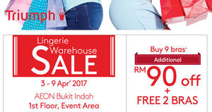 Featured image for Triumph Lingerie Warehouse Sale at AEON Bukit Indah from 3 – 9 Apr 2017