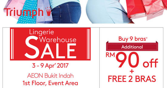 Featured image for Triumph Lingerie Warehouse Sale at AEON Bukit Indah from 3 - 9 Apr 2017