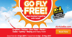 Featured image for Fly FREE when booked together with hotel via Air Asia Go's latest promo. Book from 3 – 9 Apr 2017