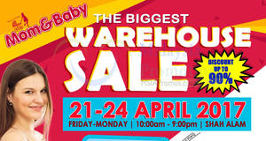 Featured image for Mom & Baby Biggest Warehouse Sale at Shah Alam from 21 – 24 Apr 2017