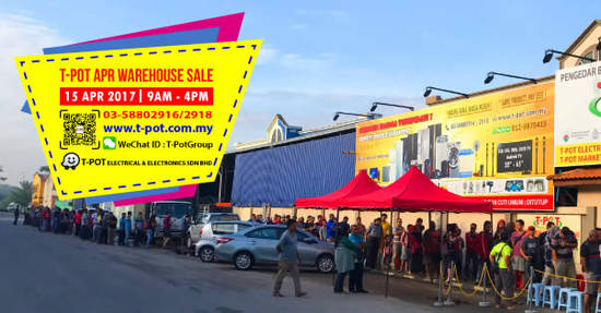 TPot warehouse sale 10 Apr 2017
