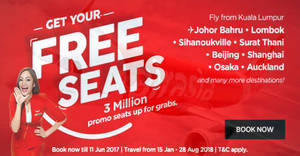 Featured image for AirAsia: FREE Seats – 3 million promo seats up for grabs! Book from 5 – 11 Jun 2017